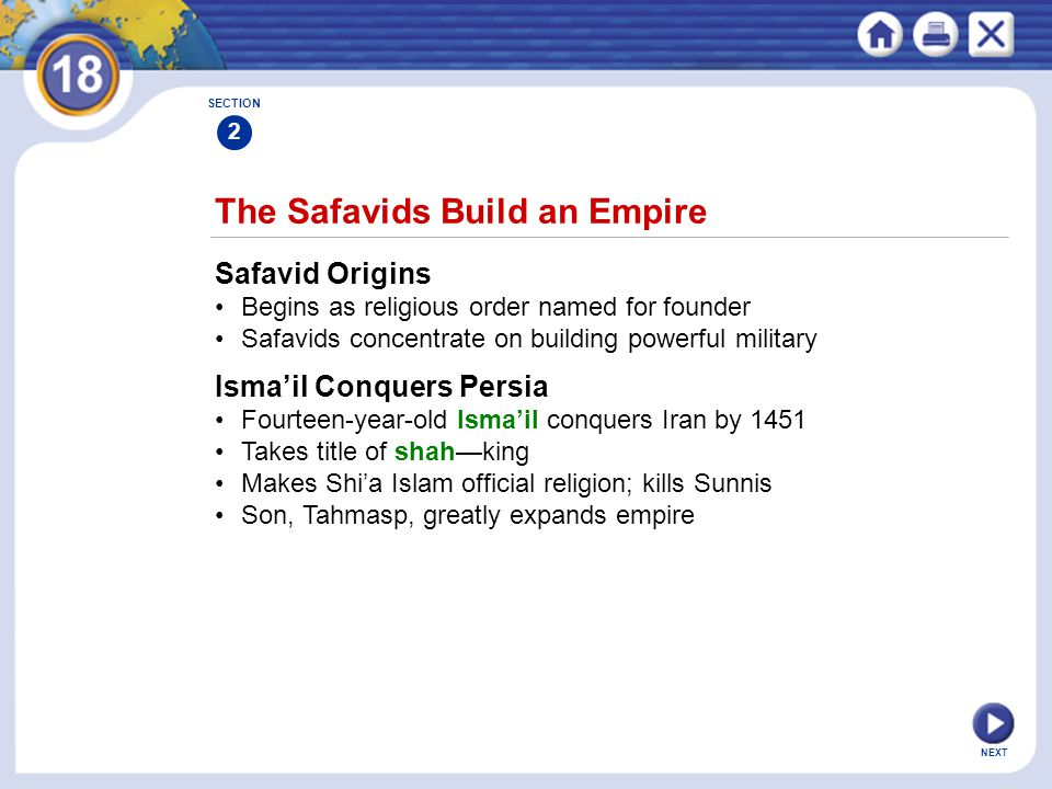 NEXT The Safavids Build an Empire Safavid Origins Begins as religious order named for founder Safavids concentrate on building powerful military SECTI