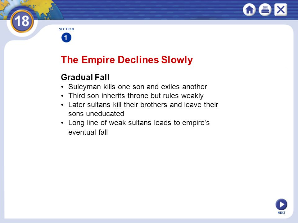 NEXT The Empire Declines Slowly SECTION 1 Gradual Fall Suleyman kills one son and exiles another Third son inherits throne but rules weakly Later sult