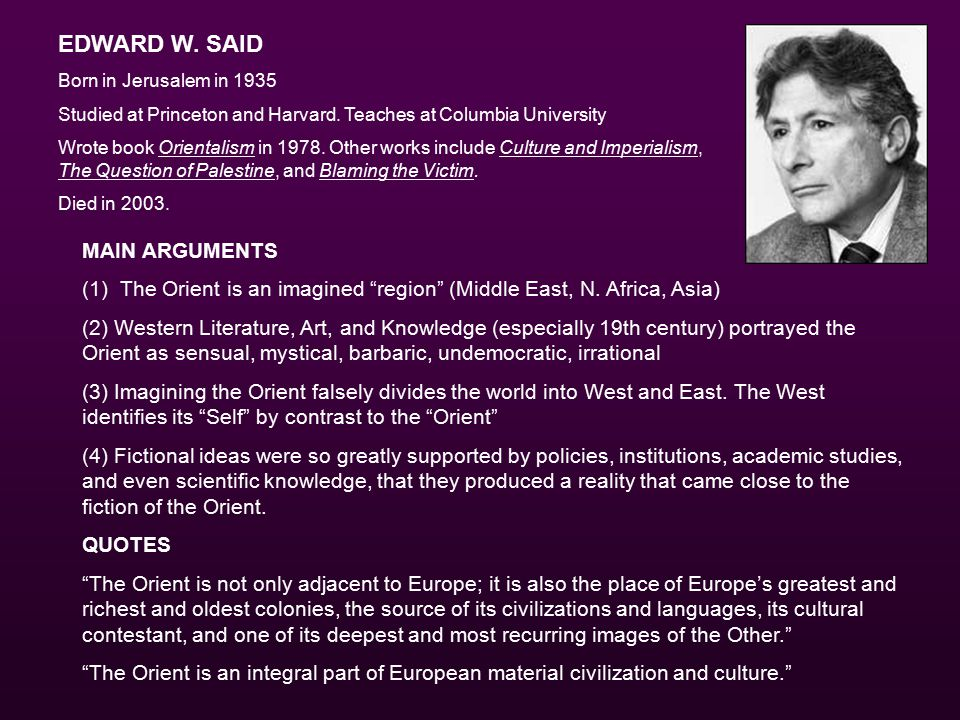 EDWARD W. SAID Born in Jerusalem in 1935 Studied at Princeton and Harvard.