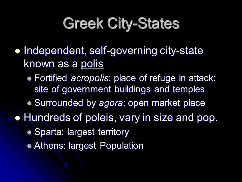 Greek City-States Independent, self-governing city-state known as a polis Independent, self-governing city-state known as a polis Fortified acropolis: