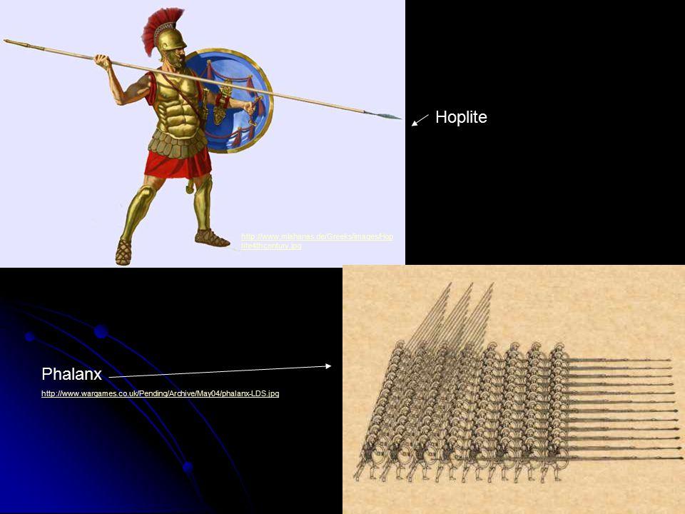 http://www.mlahanas.de/Greeks/images/Hop lite4thcentury.jpg Phalanx http://www.wargames.co.uk/Pending/Archive/May04/phalanx-LDS.jpg Hoplite