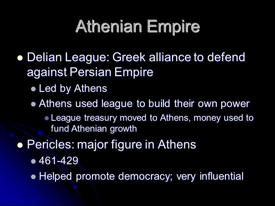 Athenian Empire Delian League: Greek alliance to defend against Persian Empire Delian League: Greek alliance to defend against Persian Empire Led by A