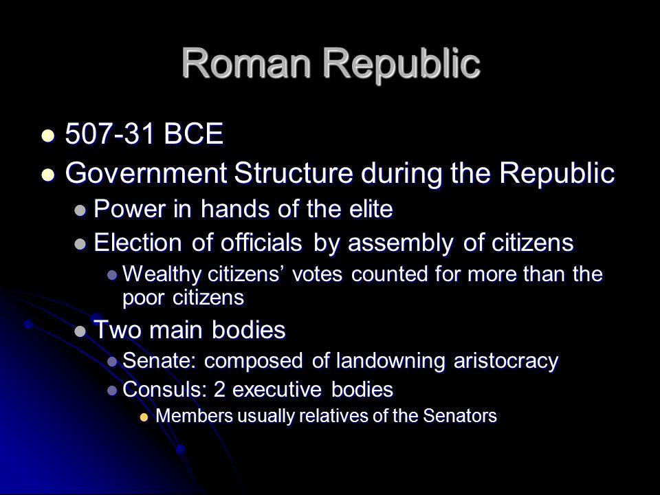 Roman Republic 507-31 BCE 507-31 BCE Government Structure during the Republic Government Structure during the Republic Power in hands of the elite Pow