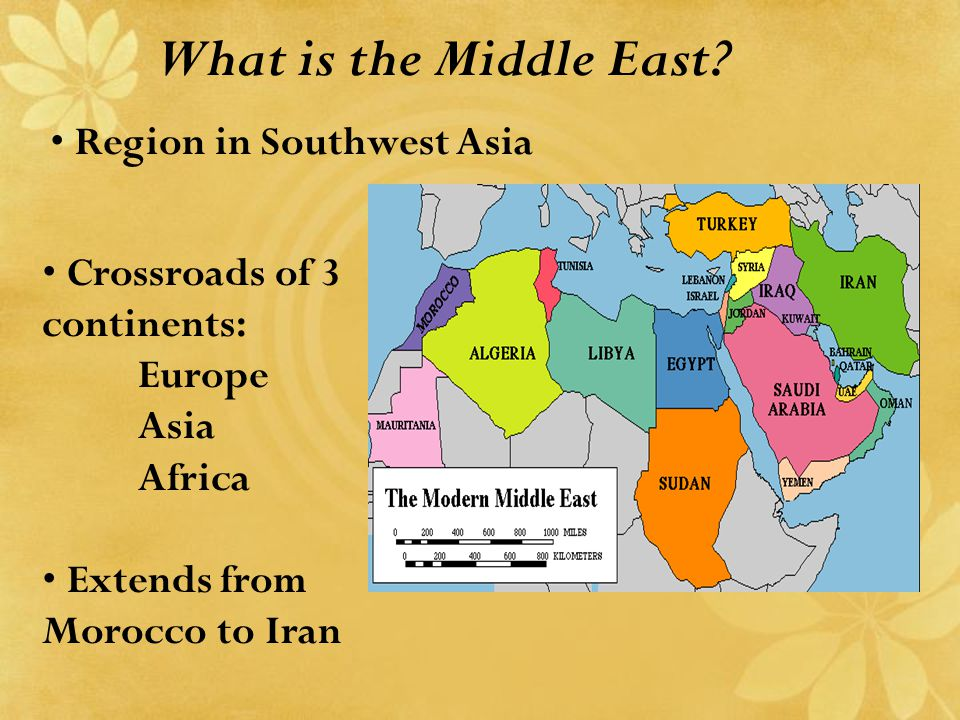 What is the Middle East? Crossroads of 3 continents: Europe Asia Africa Extends from Morocco to Iran Region in Southwest Asia