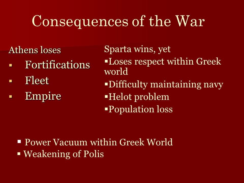Consequences of the War Athens loses  Fortifications  Fleet  Empire Sparta wins, yet  Loses respect within Greek world  Difficulty maintaining na