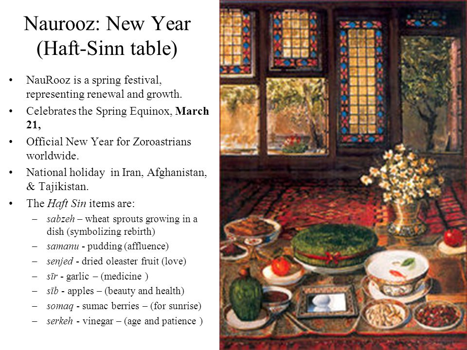 20 Naurooz: New Year (Haft-Sinn table) NauRooz is a spring festival, representing renewal and growth. Celebrates the Spring Equinox, March 21, Officia