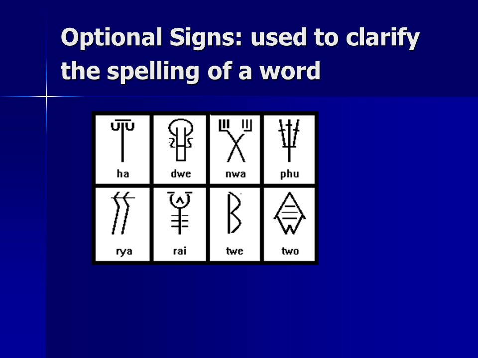 Optional Signs: used to clarify the spelling of a word