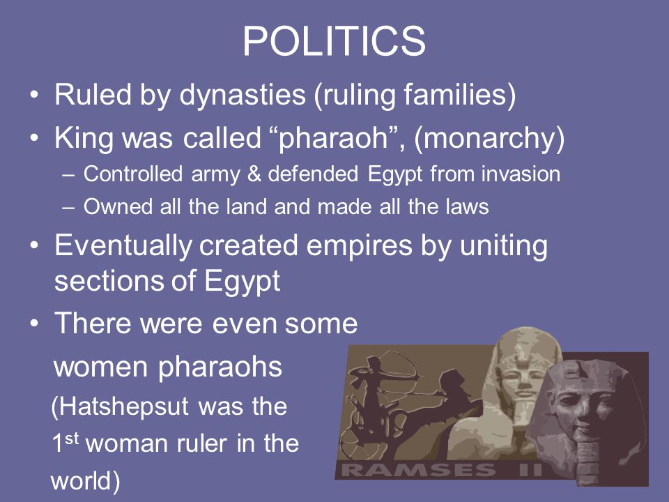 """POLITICS Ruled by dynasties (ruling families) King was called """"pharaoh"""", (monarchy) –Controlled army & defended Egypt from invasion –Owned all the lan"""