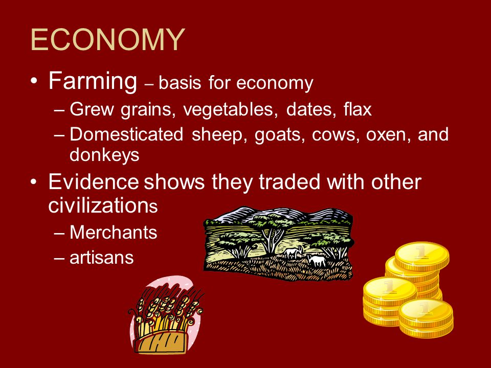 ECONOMY Farming – basis for economy –G–Grew grains, vegetables, dates, flax –D–Domesticated sheep, goats, cows, oxen, and donkeys Evidence shows they