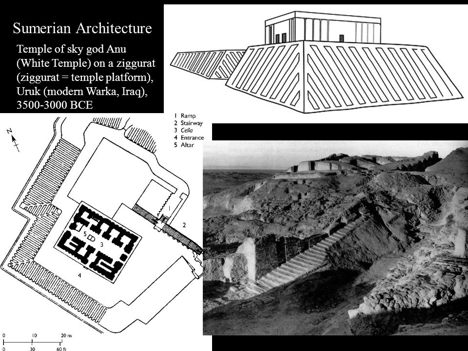 Sumerian Architecture Temple of sky god Anu (White Temple) on a ziggurat (ziggurat = temple platform), Uruk (modern Warka, Iraq), 3500-3000 BCE
