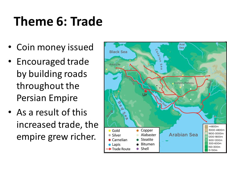 Theme 6: Trade Coin money issued Encouraged trade by building roads throughout the Persian Empire As a result of this increased trade, the empire grew richer.