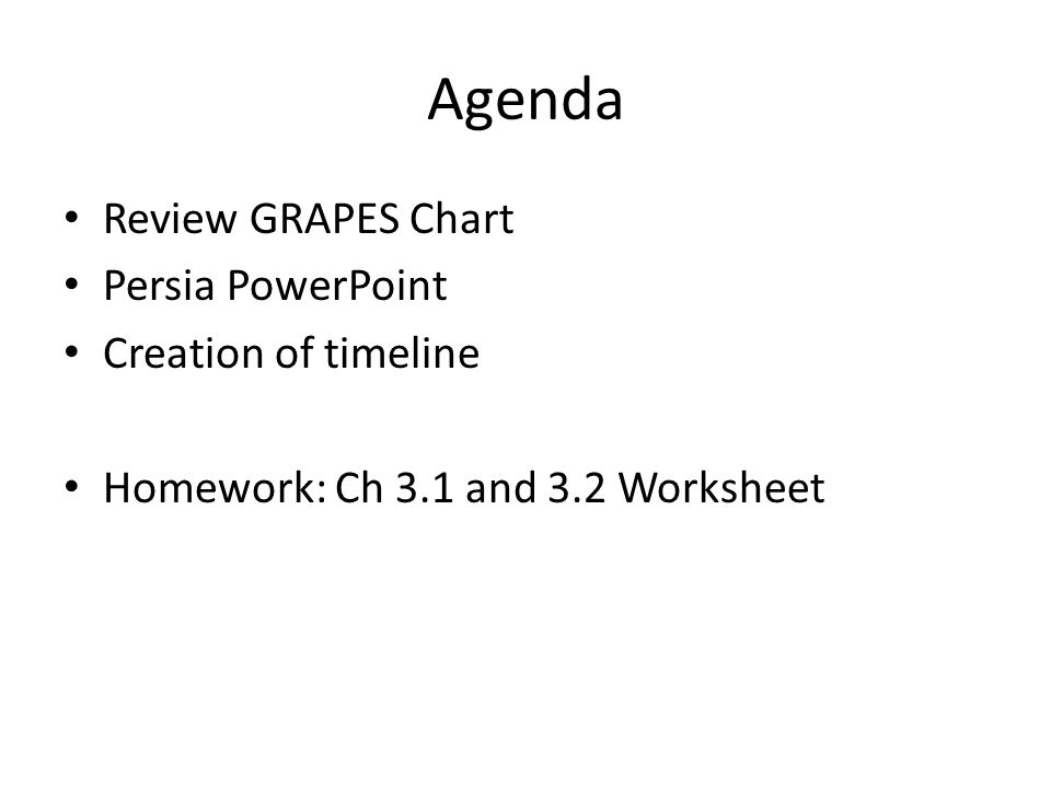 Agenda Review GRAPES Chart Persia PowerPoint Creation of timeline Homework: Ch 3.1 and 3.2 Worksheet