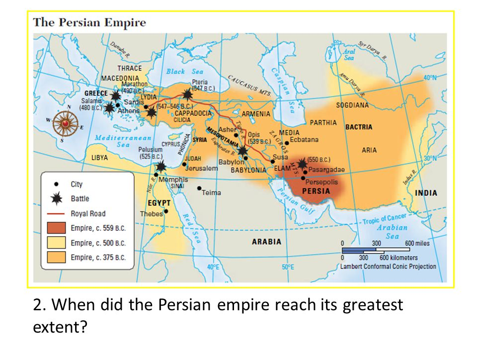 2. When did the Persian empire reach its greatest extent?