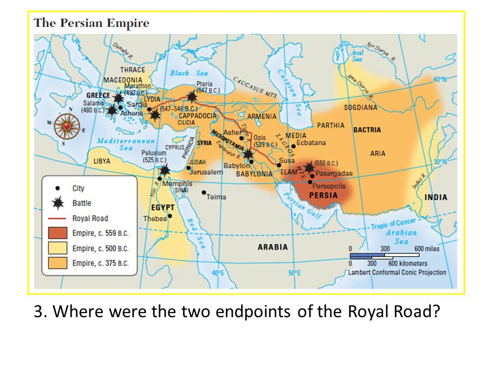 3. Where were the two endpoints of the Royal Road?