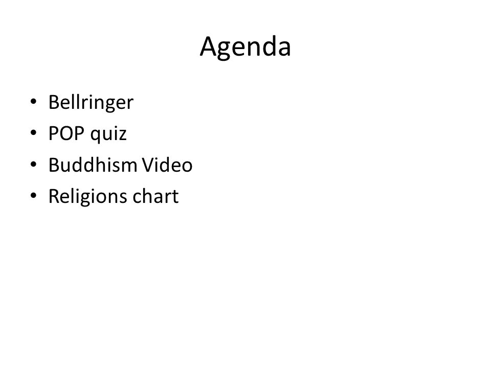 Agenda Bellringer POP quiz Buddhism Video Religions chart