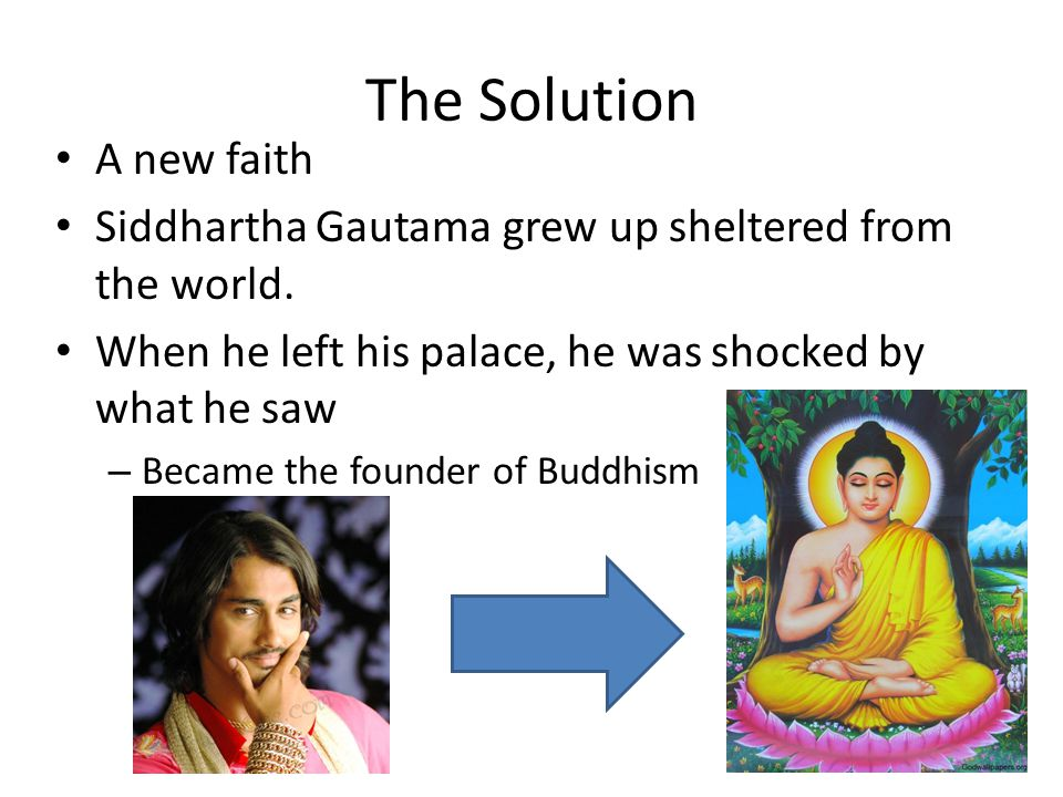 The Solution A new faith Siddhartha Gautama grew up sheltered from the world.