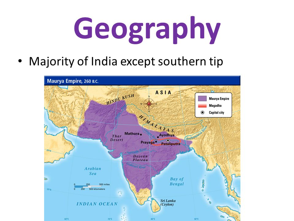 Geography Majority of India except southern tip