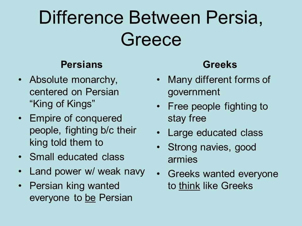 Difference Between Persia, Greece Persians Absolute monarchy, centered on Persian King of Kings Empire of conquered people, fighting b/c their king told them to Small educated class Land power w/ weak navy Persian king wanted everyone to be Persian Greeks Many different forms of government Free people fighting to stay free Large educated class Strong navies, good armies Greeks wanted everyone to think like Greeks