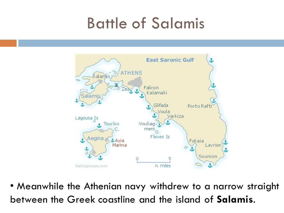 Battle of Salamis Meanwhile the Athenian navy withdrew to a narrow straight between the Greek coastline and the island of Salamis.