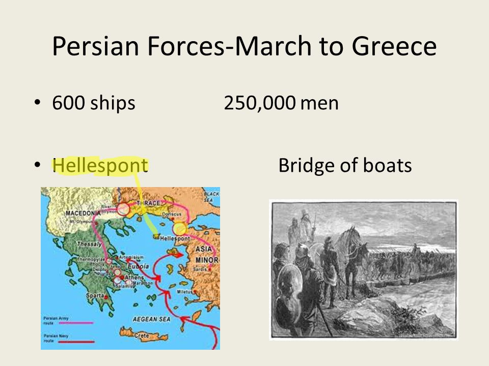 Persian Forces-March to Greece 600 ships 250,000 men HellespontBridge of boats