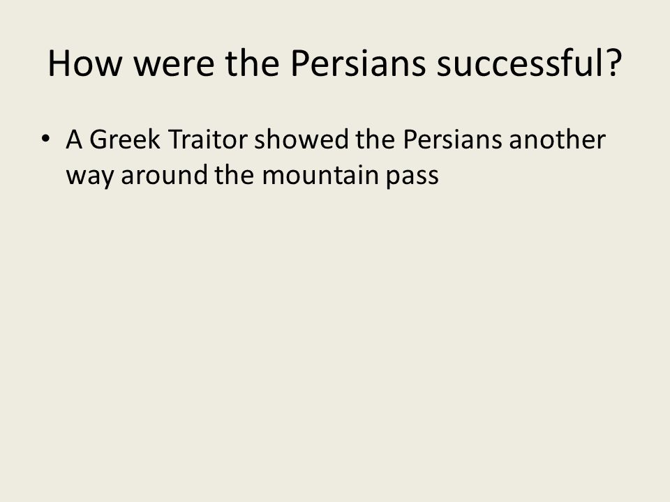 How were the Persians successful.