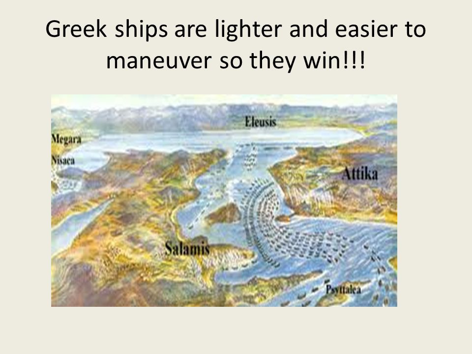 Greek ships are lighter and easier to maneuver so they win!!!