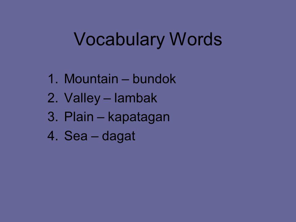 Vocabulary Words 1.Mountain – bundok 2.Valley – lambak 3.Plain – kapatagan 4.Sea – dagat