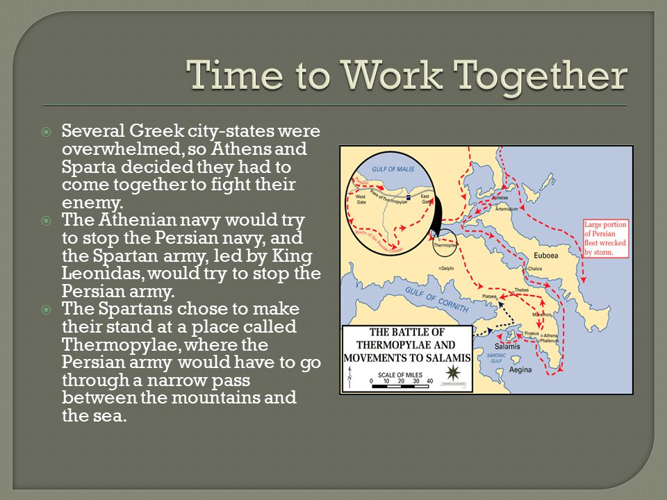  Several Greek city-states were overwhelmed, so Athens and Sparta decided they had to come together to fight their enemy.  The Athenian navy would t