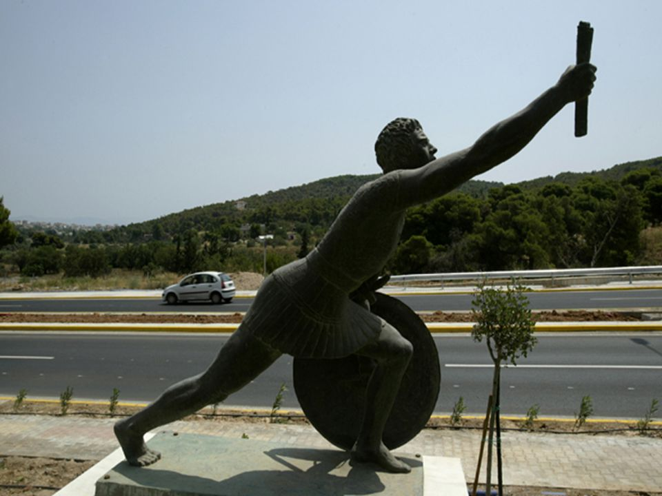 Greeks sent their fastest runner Pheidippides to carry home news of victory.