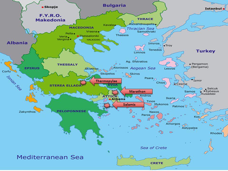 Knowing the Persians were en route to crossing the isthmus to Peloponnese the Athenian fleet moved and was lying in wait behind the island of Salamis More than 800 Persian ships attacked Athenian navy near the island, but the large Persian ships could not maneuver the water; smaller Greek ships destroy them