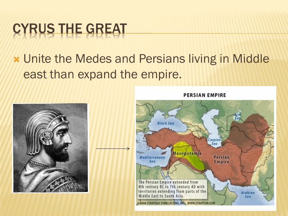  Unite the Medes and Persians living in Middle east than expand the empire.