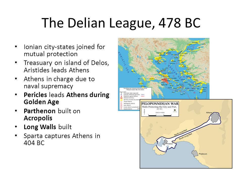 The Delian League, 478 BC Ionian city-states joined for mutual protection Treasuary on island of Delos, Aristides leads Athens Athens in charge due to