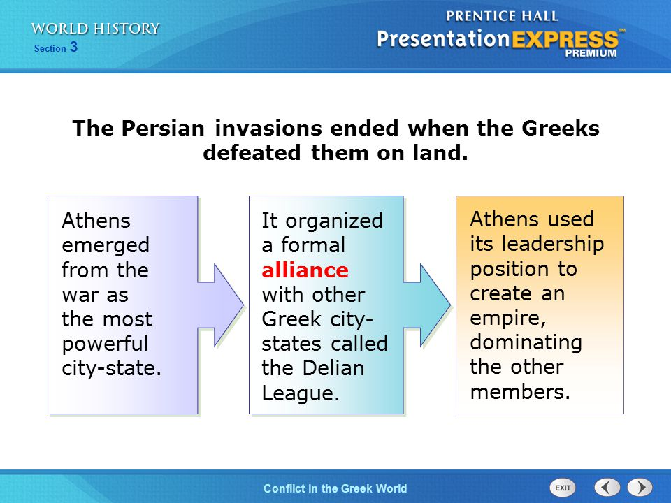 Conflict in the Greek World Section 3 Athens experienced a golden age from 460 B.C.