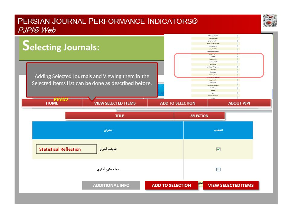 S electing Journals: P ERSIAN J OURNAL P ERFORMANCE I NDICATORS® PJPI® Web PJPI® Web ADDITIONAL INFO Statistical Reflection Adding Selected Journals and Viewing them in the Selected Items List can be done as described before.