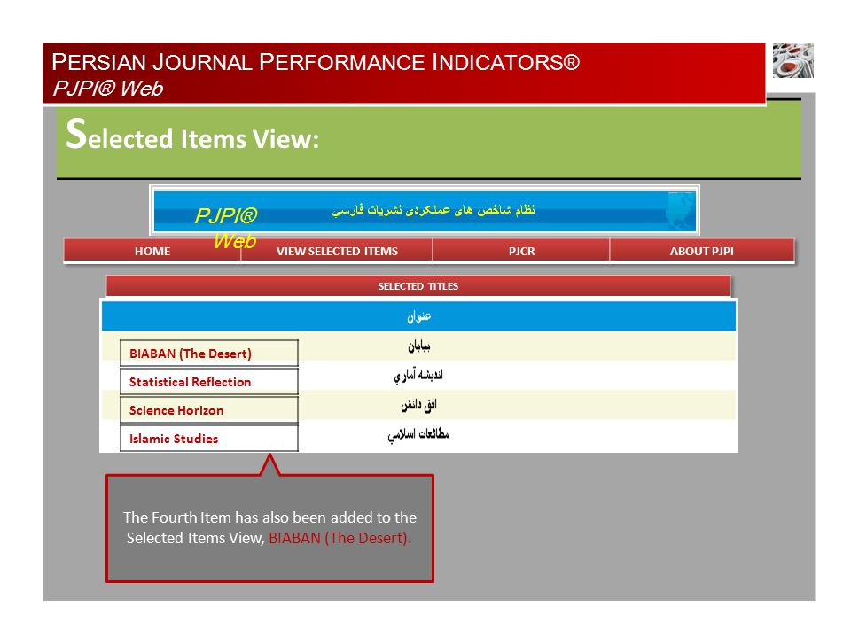 S elected Items View: P ERSIAN J OURNAL P ERFORMANCE I NDICATORS® PJPI® Web PJPI® Web BIABAN (The Desert) Statistical Reflection Science Horizon Islamic Studies The Fourth Item has also been added to the Selected Items View, BIABAN (The Desert).