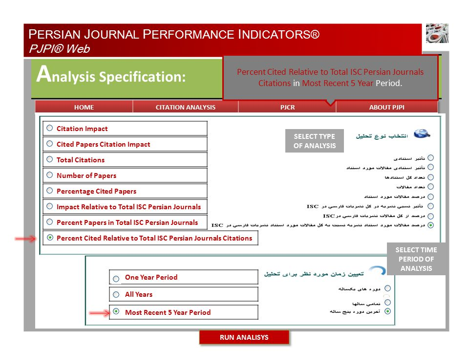TYPE OF ANALYSIS A nalysis Specification: Natural Resources of Iran Medical Physics of Iran Most Recent 5 Year Period All Years One Year Period Cited Papers Citation Impact Total Citations Number of Papers Percentage Cited Papers Impact Relative to Total ISC Persian Journals Percent Papers in Total ISC Persian Journals Percent Cited Relative to Total ISC Persian Journals Citations Citation Impact SELECT TYPE OF ANALYSIS SELECT TIME PERIOD OF ANALYSIS P ERSIAN J OURNAL P ERFORMANCE I NDICATORS® PJPI® Web Percent Cited Relative to Total ISC Persian Journals Citations in Most Recent 5 Year Period.