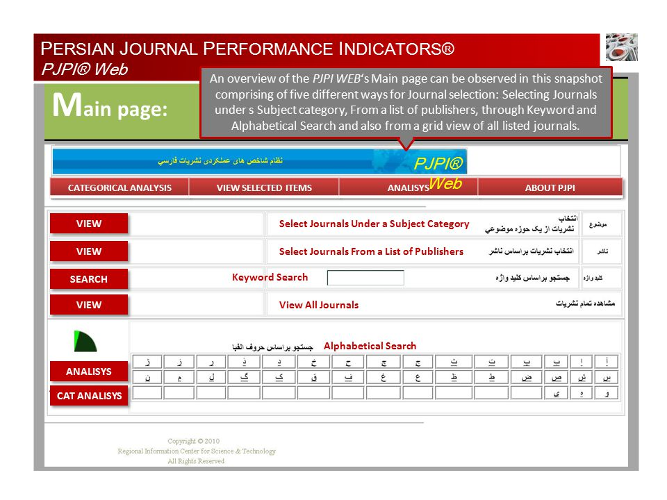 M ain page: Select Journals Under a Subject Category Select Journals From a List of Publishers Keyword Search View All Journals Alphabetical Search PJPI® Web P ERSIAN J OURNAL P ERFORMANCE I NDICATORS® PJPI® Web An overview of the PJPI WEB's Main page can be observed in this snapshot comprising of five different ways for Journal selection: Selecting Journals under s Subject category, From a list of publishers, through Keyword and Alphabetical Search and also from a grid view of all listed journals.