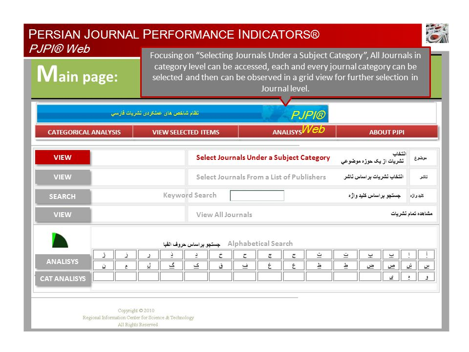 TYPE OF ANALYSIS A nalysis Specification: Natural Resources of Iran Medical Physics of Iran Most Recent 5 Year Period All Years One Year Period Cited Papers Citation Impact Total Citations Number of Papers Percentage Cited Papers Impact Relative to Total ISC Persian Journals Percent Papers in Total ISC Persian Journals Percent Cited Relative to Total ISC Persian Journals Citations Citation Impact SELECT TYPE OF ANALYSIS SELECT TIME PERIOD OF ANALYSIS P ERSIAN J OURNAL P ERFORMANCE I NDICATORS® PJPI® Web Number of Papers in Most Recent 5 year Year Period.