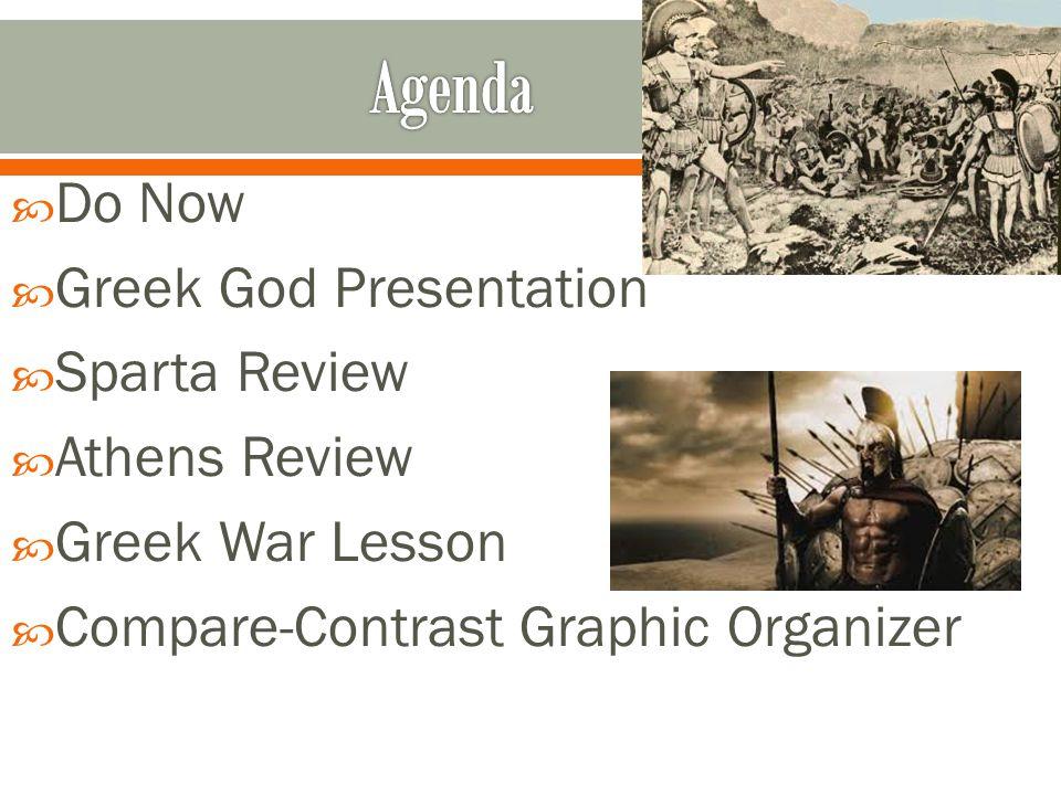  Do Now  Greek God Presentation  Sparta Review  Athens Review  Greek War Lesson  Compare-Contrast Graphic Organizer