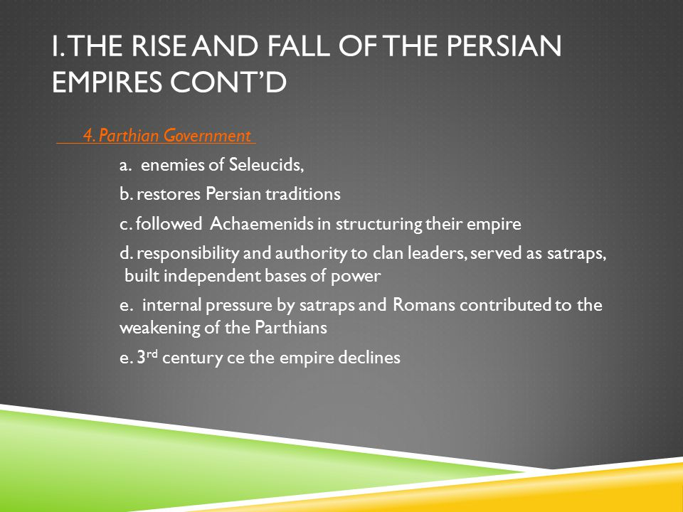 I.THE RISE AND FALL OF THE PERSIAN EMPIRES CONT'D 4.