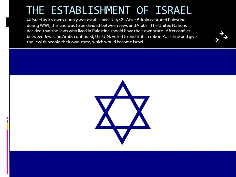 THE ESTABLISHMENT OF ISRAEL  Israel as it's own country was established in 1948. After Britain captured Palestine during WWI, the land was to be divi
