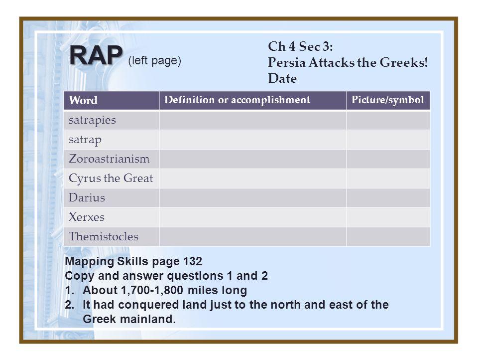 Word Definition or accomplishmentPicture/symbol satrapies satrap Zoroastrianism Cyrus the Great Darius Xerxes Themistocles Ch 4 Sec 3: Persia Attacks the Greeks.