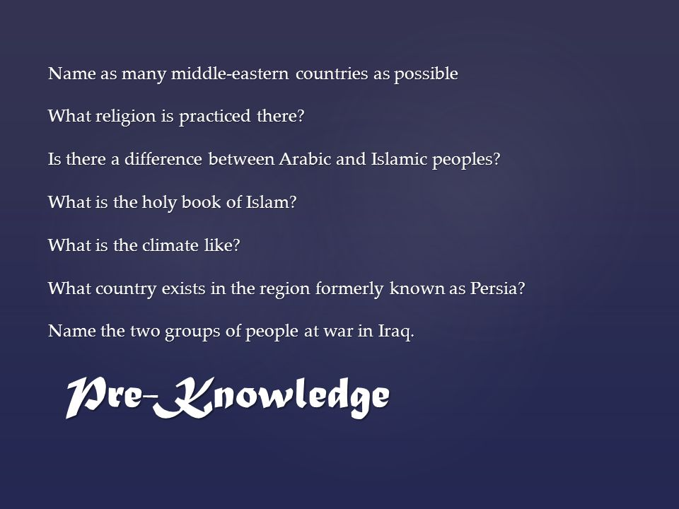 Pre-Knowledge Name as many middle-eastern countries as possible What religion is practiced there.