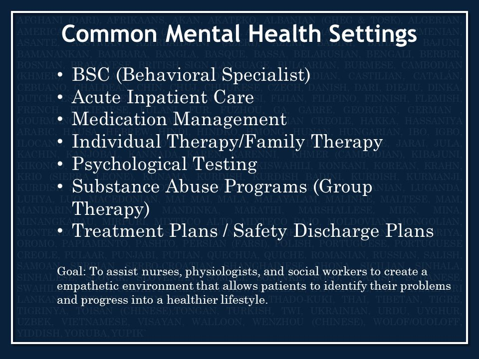 Common Mental Health Settings BSC (Behavioral Specialist) Acute Inpatient Care Medication Management Individual Therapy/Family Therapy Psychological Testing Substance Abuse Programs (Group Therapy) Treatment Plans / Safety Discharge Plans Goal: To assist nurses, physiologists, and social workers to create a empathetic environment that allows patients to identify their problems and progress into a healthier lifestyle.
