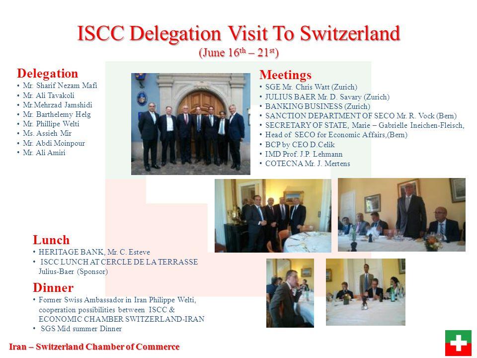 Organization (Tehran, Iran) Economic Chamber Swiss – Iran (Zurich – Switzerland) ISCC Board Banking IndustryTrade Education Mr.