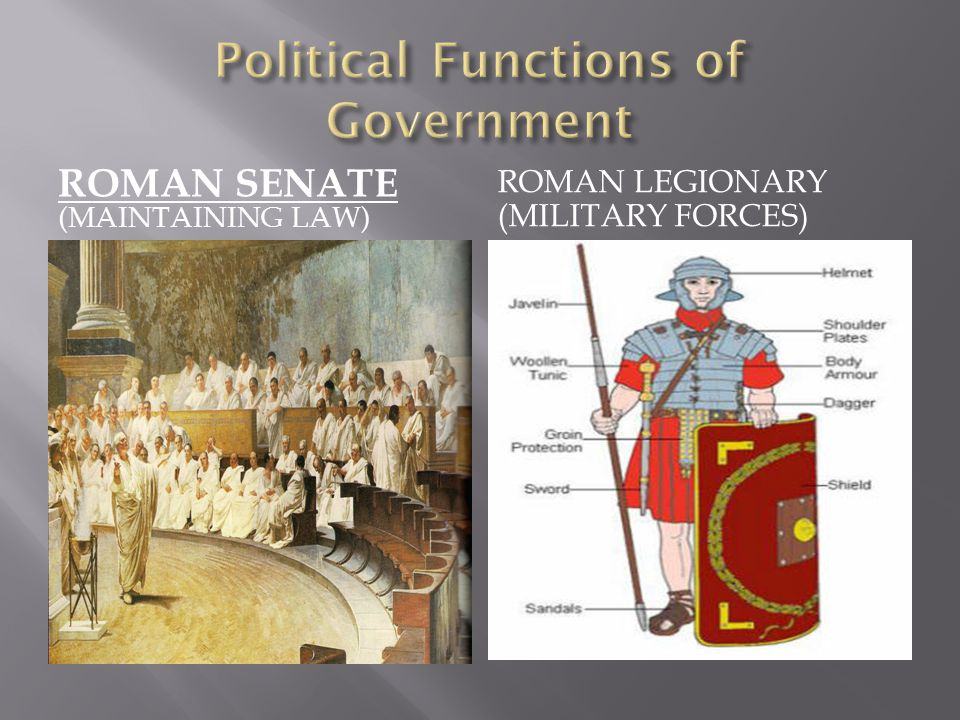 ROMAN SENATE (MAINTAINING LAW) ROMAN LEGIONARY (MILITARY FORCES)