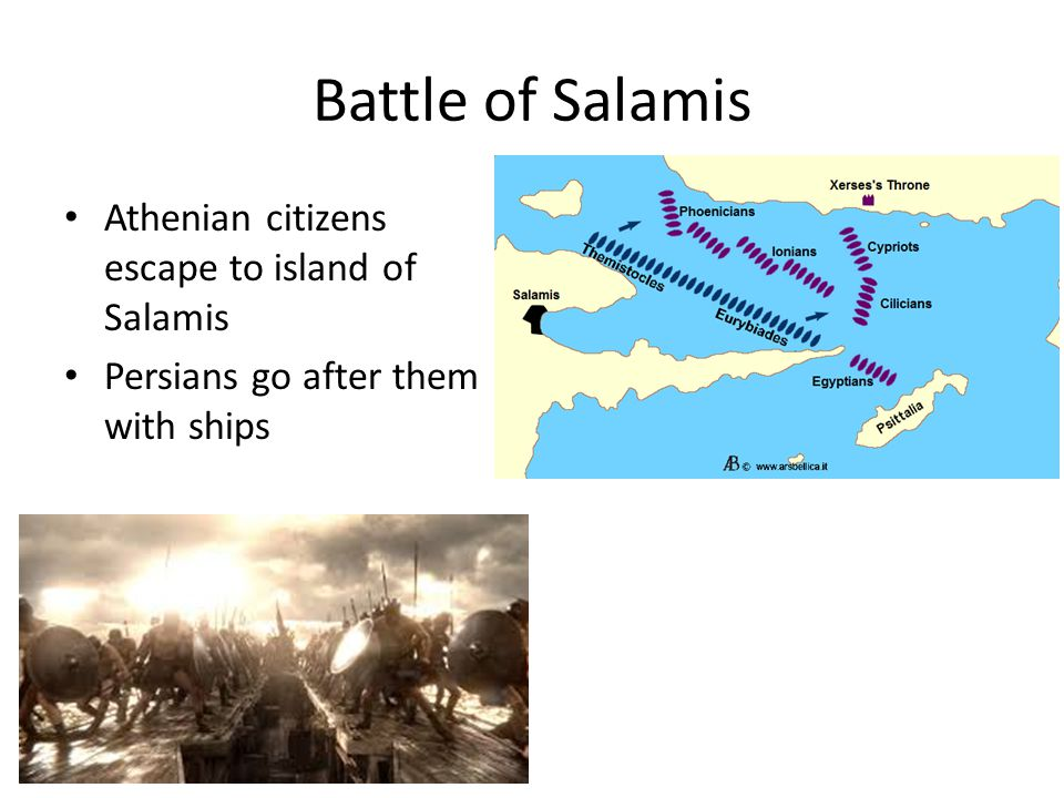 Battle of Salamis Athenian citizens escape to island of Salamis Persians go after them with ships