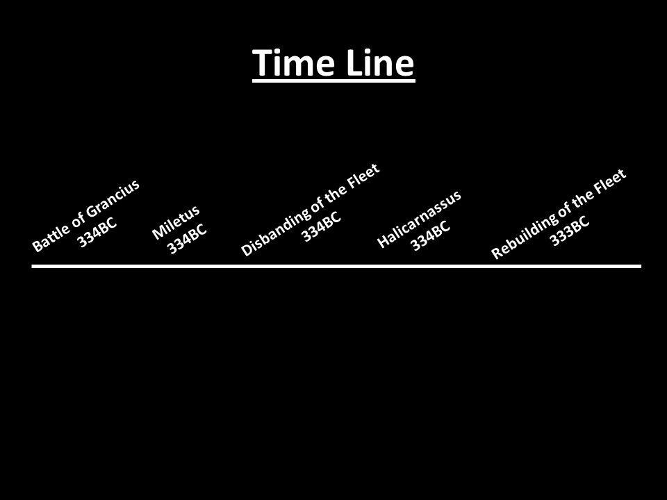Time Line Battle of Grancius 334BC Miletus 334BC Disbanding of the Fleet 334BC Halicarnassus 334BC Rebuilding of the Fleet 333BC