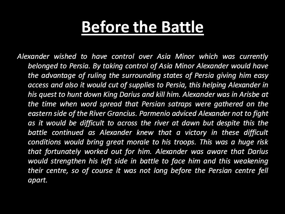 First Phase Macedonian cavalry diagonally charges across the river and attacks the Persian left.