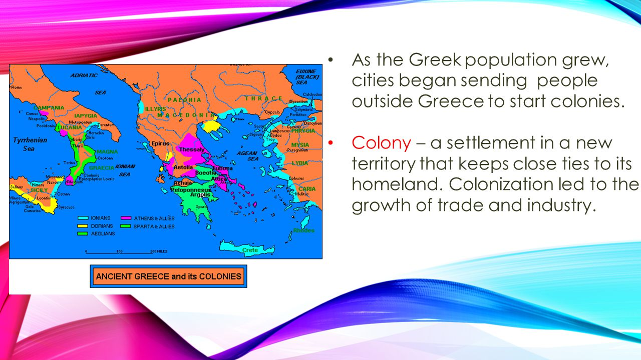 As the Greek population grew, cities began sending people outside Greece to start colonies. Colony – a settlement in a new territory that keeps close